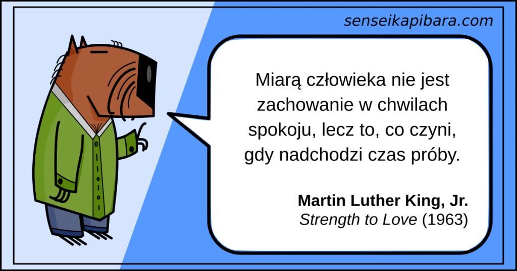 niebieski - Miarą człowieka nie jest zachowanie w chwilach spokoju - Martin Luther King